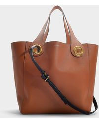 Burberry - The Grommet Detail Leather Tote In Brown Calfskin - Lyst