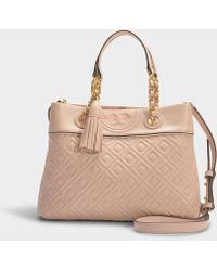 6f10a5433212 Tory Burch - Fleming Small Tote In Pink Calfskin - Lyst