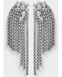 Helene Zubeldia - Large Crystals Cascade Clip Earrings In Ruthenium And Crystals - Lyst
