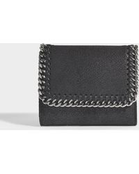 Stella McCartney - Shaggy Deer Falabella Small Flap Wallet In Black Synthetic Material - Lyst