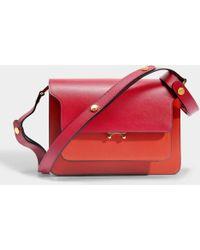 Marni - Trunk Medium Tricolor Bag In Cherry, Tile And Bluet Saffiano Calf - Lyst