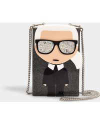 Karl Lagerfeld - K/ikonik Karl Clutch In Black Synthetic Material - Lyst