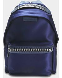 Stella McCartney - Satin Embossed Logo Falabella Go Backpack In Navy Polyurethane, Elastane, Polyester - Lyst
