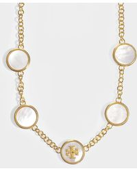 Tory Burch - Semi-precious Multi Necklace In Mother Of Pearl And Vintage Gold Metal - Lyst