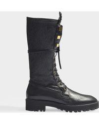 Stuart Weitzman - Elspeth Long Combat Boots In Black Calfskin - Lyst