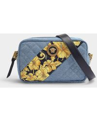 Versace - Camera Bag In Dusk Blue Denim, Canvas And Nappa Leather - Lyst