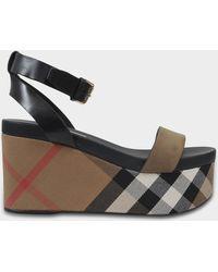 Burberry - Nuneaton Check Wedge Sandals In Dark Heather Melange Calfskin - Lyst