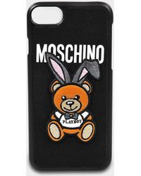 Moschino - Phone Case Iphone 7 In Black Pvc - Lyst