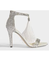 Jimmy Choo - Viola 100 Sandals In White And Crystal Suede Leather And Ostrich Feathers - Lyst