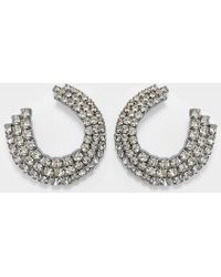Helene Zubeldia - Twisted Clip Earrings In Ruthenium And Crystals - Lyst