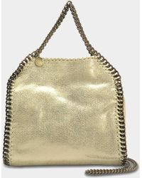 Stella McCartney - Metallic Shaggy Deer Falabella Mini Tote Bag In Lemon Eco Leather - Lyst