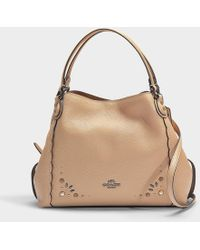 COACH - Edie 28 Rivets Shoulder Bag In Beechwood Calfskin - Lyst