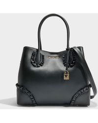 MICHAEL Michael Kors - Mercer Gallery Center Zip Medium Tote Bag With Ruffles In Black Polished Leather - Lyst