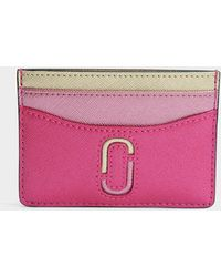 Marc Jacobs - Double J Saffiano Card Case In Pink Split Cow Leather - Lyst