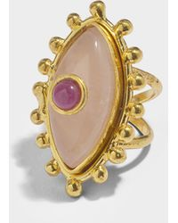 Sylvia Toledano - The Third Eye Ring In Gold-plated Brass With Ruby And Pink Quartz - Lyst