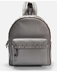 COACH - Campus Backpack With Rivets In Grey Calfskin - Lyst