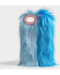 Charlotte Simone - Fluff Phone Case In Pastel Blue And True Blue Acrylic - Lyst