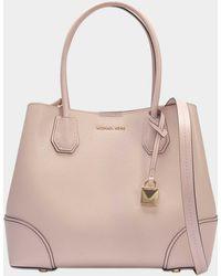 bf04a3ed2ad3 MICHAEL Michael Kors - Mercer Gallery Medium Center Zip Tote Bag In Soft  Pink Grained Calfskin