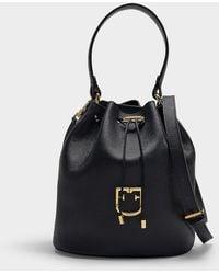 Furla - Corona S Drawstring Bag In Black Calfskin - Lyst