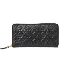 Comme Des Garçons Embossed Logotype small Zip around wallet en Cuir de Veau Noir skin gjRp7DLF