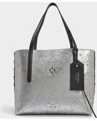Jimmy Choo - Ew Shopper Bag In Vintage Silver Mix Metallic Nappa Leather - Lyst