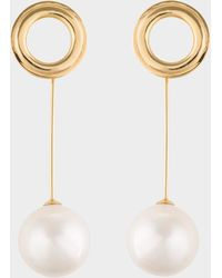 Joanna Laura Constantine - Gold Plated Grommets Pearl Earrings - Lyst