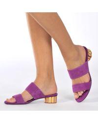 Ferragamo - Belluno Suede Sandals - Lyst