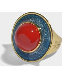 Aurelie Bidermann - Elvira Ring In Turquoise Enamel, Coral Resin And 18k Gold-plated Brass - Lyst