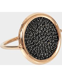 Ginette NY Bague Large Black Diamond Disc or 18 carats