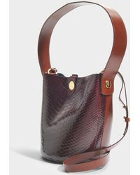 Sophie Hulme - The Swing Bag In Burgundy And Brown Cow Leather And Python - Lyst