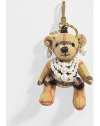 Burberry - Thomas Bear Pearl Bag Charm In Antique Yellow Vintage Check Cashmere - Lyst