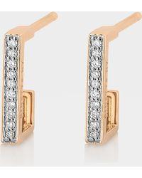 Ginette NY - Diamond Art Deco Hoop Earrings In 18k Rose Gold - Lyst