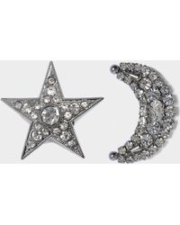 Helene Zubeldia - Asymmetrical Crystal Star & Moon Earrings - Lyst