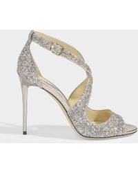 Jimmy Choo Emily Cross Front Sandals In Platinium Painted Coarse Glitter