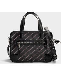 916eecf3f0b9 Karl Lagerfeld - K stripe Logo Bowling Bag In Black Calfskin - Lyst