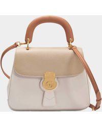 Burberry - Medium Dk88 Top Handle Bag In Limestone And Honey Embossed Calfskin - Lyst
