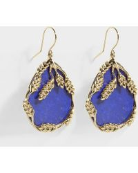 Aurelie Bidermann - Françoise Pendant Earrings In Lapis Lazuli And Gold Plated Brass - Lyst