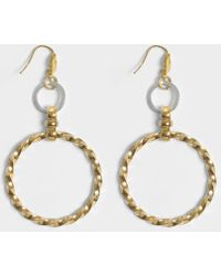 Aris Geldis - Assymetrical Circular Earrings In Gold And Silver Plated Brass - Lyst
