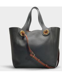 Burberry - The Grommet Detail Leather Tote In Dark Emerald Green Calfskin - Lyst