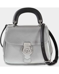Burberry - Small Dk88 Top Handle Bag In Silver Embossed Calfskin - Lyst