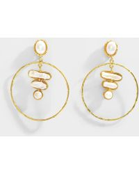 Sylvia Toledano - Baroque 3 Stones Earrings In Pearl 18k Gold Coated Brass - Lyst