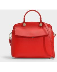Furla - My Piper S Top Handle Bag In Red Calfskin - Lyst