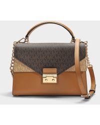 MICHAEL Michael Kors - Sloan Medium Doubleflap Top Zip Satchel Bag In Brown Calfskin - Lyst