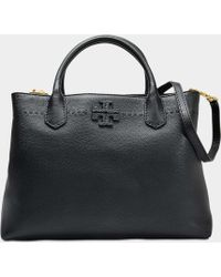 Tory Burch - Mcgraw Triple Compartment Satchel Bag In Black Calfskin - Lyst