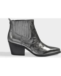 Sam Edelman - Winona Ankle Boots In Anthracite Calfskin - Lyst