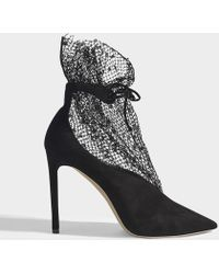 Jimmy Choo - Leanne Pumps In Black Suede Leather And Fishnet - Lyst