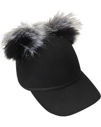 Charlotte Simone - Sass Cap Single Pom In Faux Fur - Lyst
