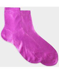 Maria La Rosa - Metallic Socks In Silver Silk And Polyamide - Lyst