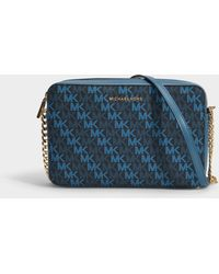 14d78bf91830 MICHAEL Michael Kors - Large East West Crossbody Bag In Navy Canvas - Lyst