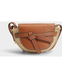 Loewe - Mini Gate Bag In Brown Calfskin And Raffia - Lyst